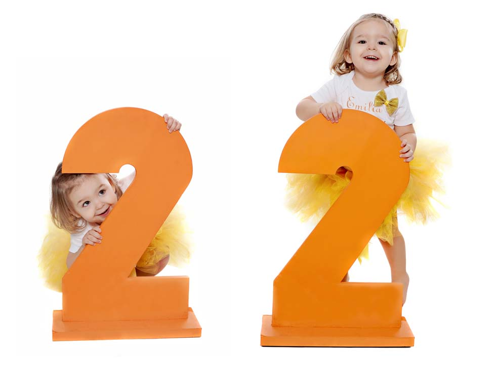 2nd birthday photo session, giant wooden 2